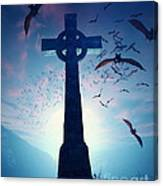 Celtic Cross With Swarm Of Bats Canvas Print