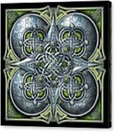 Celtic Hearts - Green And Silver Canvas Print