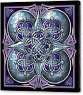 Celtic Hearts - Purple And Silver Canvas Print