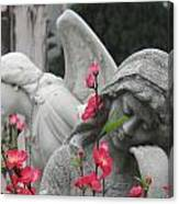 Cemetery Stone Angels And Flowers Canvas Print