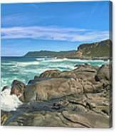 Central Coast Ca Ocean Waves Crashing On Rocks  4 Canvas Print