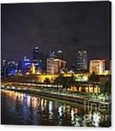 Central Melbourne Skyline At Night Australia Canvas Print