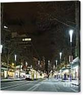 Central Melbourne Street At Night In Australia Canvas Print