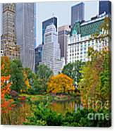Central Park And Fifth Autumn View Canvas Print