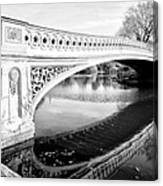 Central Park Bridges Bow Bridge Spanning Lake Canvas Print