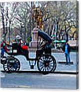 Central Park Horse Carriage Station Panorama Canvas Print