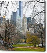 Central Park South Buildings From Central Park Canvas Print