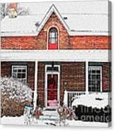 Century Home With Christmas Wreath Canvas Print