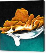Cereal In Spoon With Milk Canvas Print