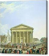 Ceremony Of Laying The First Stone Of The New Church Of St. Genevieve In 1763, 1764 Oil On Canvas Canvas Print