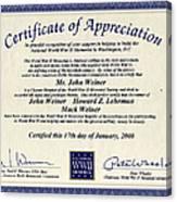 Certificate Of Appreciation Canvas Print