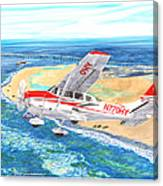 Cessna 206 Flying Over The Outer Banks Canvas Print