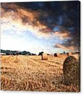 Cezanne Style Digital Painting Beautiful Golden Hour Hay Bales Sunset Landscape Canvas Print