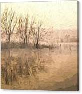 Cezanne Style Digital Painting Landscape Of Lake In Mist With Sun Glow At Sunrise Canvas Print