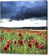 Cezanne Style Digital Painting Stunning Poppy Field Landscape In Summer Sunset Light Canvas Print