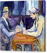 Cezannes The Card Players In Watercolor Canvas Print