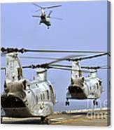 Ch-46e Sea Knight Helicopters Take Canvas Print