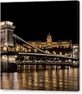 Chain Bridge And Buda Castle Winter Night Canvas Print