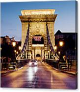 Chain Bridge In Budapest At Night Canvas Print