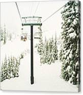 Chair Lift And Snowy Evergreen Trees Canvas Print