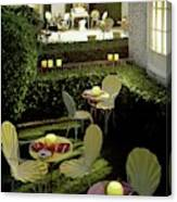 Chairs And Tables In A Garden Canvas Print