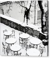 Chairs And Tables In Snow Canvas Print