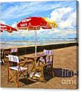 Chairs and umbrellas at Southend on Sea Canvas Print