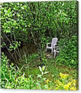 Chairs By The Creek In Summer Canvas Print