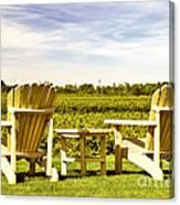 Chairs Overlooking Vineyard Canvas Print