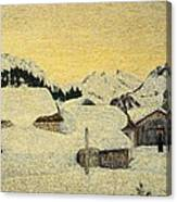 Chalets In Snow Canvas Print