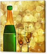 Champagne Bottle And Two Glass Flutes Canvas Print