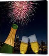 Champagne Toast With Portland Oregon Skyline Canvas Print