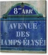 Champs-elysees Sign Canvas Print
