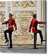 Change Of Guards Ceremony Dolmabahce Istanbul Turkey Canvas Print