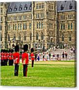 Changing Of The Guard In Front Of Parliament Building In Ottawa- Canvas Print