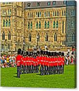 Changing Of The Guard In Front Of The Parliament Building In Ottawa-on Canvas Print