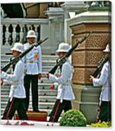 Changing Of The Guard Near Reception Hall At Grand Palace Of Thailand In Bangkok Canvas Print