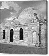 Chania Mosque Crete Black  And White Canvas Print