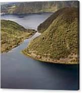 Channel In Lake Cuicocha Canvas Print