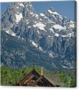 1m9335-chapel And Grand Teton Canvas Print