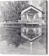 Chapel On A Lake Pencil Portrait Canvas Print