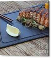 Char Grilled Salmon Canvas Print