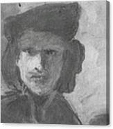 Charcoal Study Of Rembrandt  Self-portrait With Velvet Beret Canvas Print