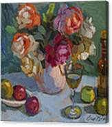 Chardonnay And Roses Canvas Print