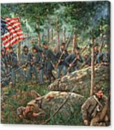 Charge Of The 20th Maine - Joshua L. Chamberlain Leading The 20th Maine Regiment On Little Round Top Canvas Print