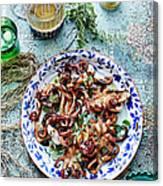 Chargrilled Lemon Oregano Octopus Canvas Print
