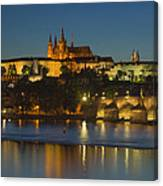 Charles Bridge And Prague Castle At Dusk  Canvas Print