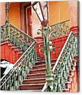 Charleston Staircase Street Lamps Architecture Canvas Print