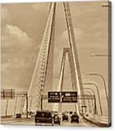 Charleston's Magnificent Cable Bridge In Sepia Canvas Print