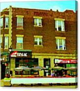 Charlevoix Pizza Et Chic Regal Rue Centre Scenes De Rue Pointe St Charles City Scenes Carole Spandau Canvas Print